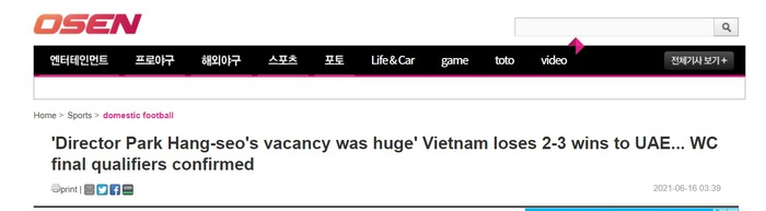 """Báo Hàn Quốc: """"Sự thiếu vắng HLV Park Hang-seo quá chí mạng""""  - Ảnh 1."""