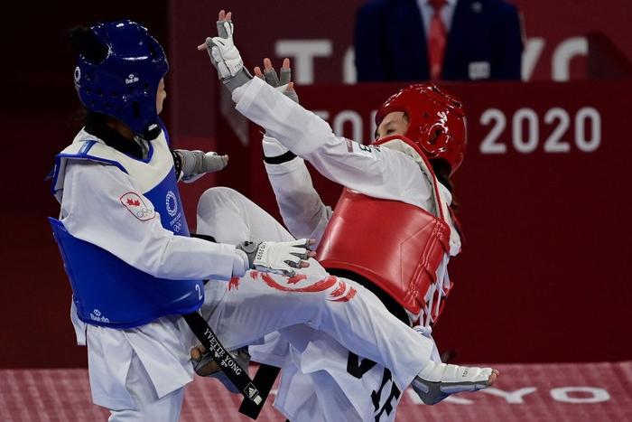"""Trương Thị Kim Tuyền """"lấy nhu thắng cương"""" đả bại đại diện Canada trận ra quân Taekwondo Olympic Tokyo 2020 - Ảnh 2."""