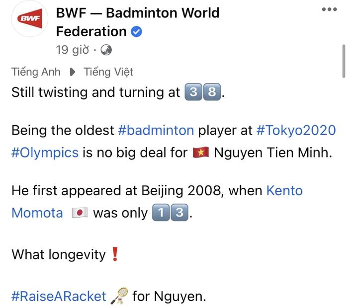 VĐV Nguyễn Tiến Minh nhận lời khen ngợi đặc biệt từ Liên đoàn cầu lông thế giới tại Olympic Tokyo 2020 - Ảnh 1.