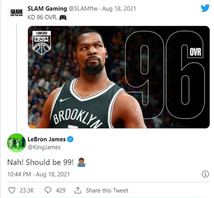 Phản ứng không mấy hài lòng của LeBron James, Kevin Durant trước chỉ số NBA 2K22 - Ảnh 3.