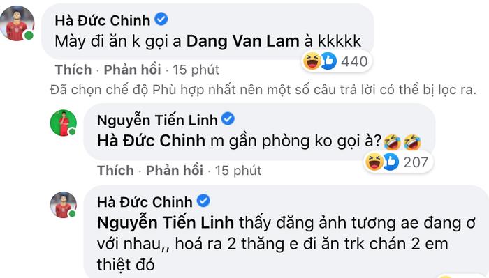 """Vừa đăng ảnh thân thiết, Tiến Linh đã bị Đức Chinh """"tố"""" đi ăn mà không gọi Văn Lâm - Ảnh 2."""