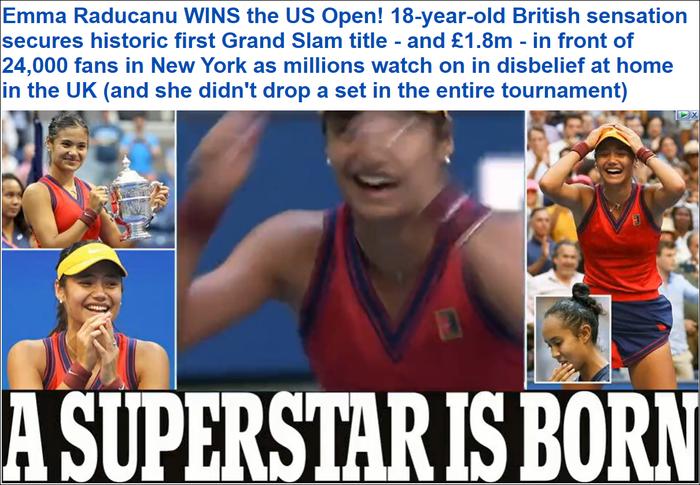 Chiếm spotlight của Ronaldo, nữ tay vợt tuổi teen Raducanu khiến fan và truyền thông Anh phát cuồng khi vô địch US Open - Ảnh 4.