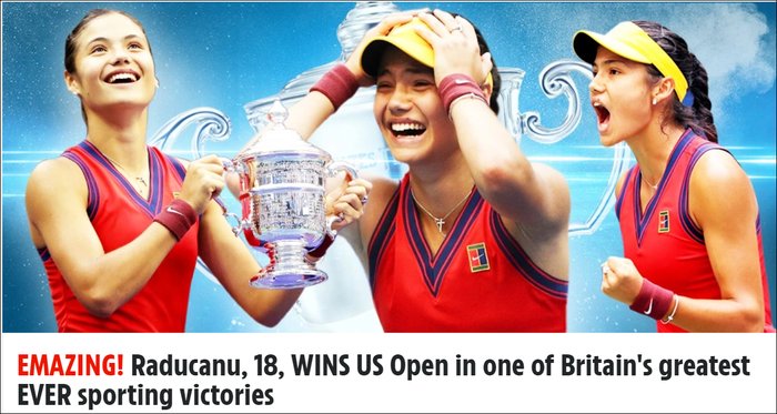 Chiếm spotlight của Ronaldo, nữ tay vợt tuổi teen Raducanu khiến fan và truyền thông Anh phát cuồng khi vô địch US Open - Ảnh 3.