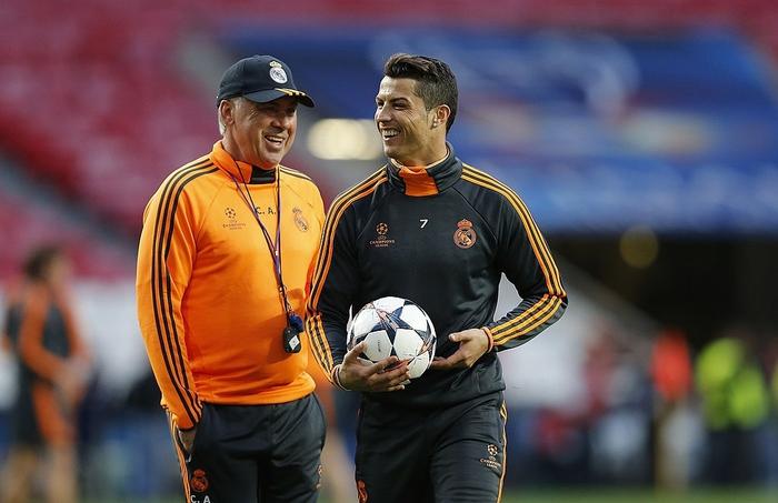 Ronaldo có mối quan hệ rất tốt với HLV Ancelotti