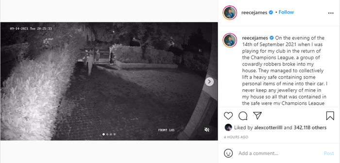 Reece James đăng tải clip lên trang Instagram cá nhân