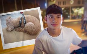 Hậu vệ tuyển Việt Nam thất lạc chú cún cưng, lo lắng đi tìm ngay trong đêm mưa lạnh
