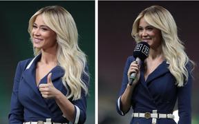 Nữ phóng viên quyến rũ nhất thế giới được khen hết lời khi xuất hiện trong ngày đội của Ronaldo bị lội ngược dòng khó tin