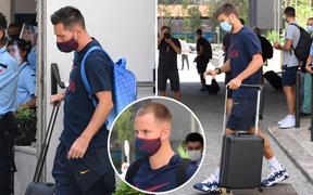Messi và các đồng đội buồn bã, lặng lẽ trở về Tây Ban Nha sau thất bại tan nát trước Bayern