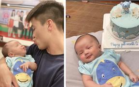 """""""Bố bỉm sữa"""" Duy Mạnh toát mồ hôi khi bế em bé, nhưng biểu cảm đáng yêu của hai bố con mới chiếm trọn spotlight"""