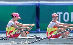 Lường Thị Thảo và Đinh Thị Hảo đánh mất vị trí thứ 2 đáng tiếc ở vòng phân hạng nhóm C môn rowing