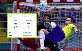 Tuyển futsal Brazil từng hủy diệt đội bóng láng giềng của Việt Nam với gần 80 bàn