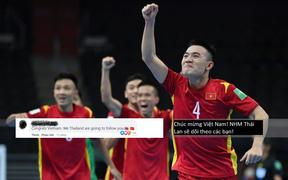 Fan Việt Nam và Thái Lan cùng ăn mừng khi 2 đội tuyển lọt vào vòng 16 đội Futsal World Cup 2021