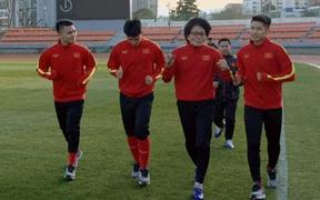 Quang Hải, Đình Trọng phải tập riêng trong buổi tập đầu tiên U23 Việt Nam trên đất Hàn Quốc