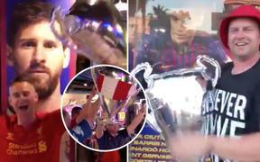 """Fan Liverpool xông thẳng vào """"hang ổ"""" của Barcelona và troll Messi cùng đồng đội không thương tiếc"""