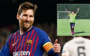 """Cậu nhóc nghịch ngợm nhất của Messi khiến dân tình phát sốt về độ đáng yêu khi """"bắt chước"""" điệu ăn mừng trứ danh của cha"""