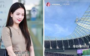 """HOT: Sau khi gây bão tại sân bay nhờ nhan sắc nữ thần, chị cả BLACKPINK bất ngờ đến sân xem """"oppa"""" Son Heung-min chói sáng"""