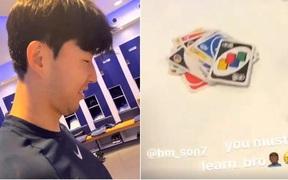 """Không biết chơi Uno, Son Heung-min bị đồng đội """"bón hành"""" ngập mồm nhưng điều đáng chú ý là thái độ của chàng trai này"""