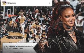 """Làm nền trong siêu phẩm của LeBron James, Josh Hart lập tức bị ca sĩ Rihanna cà khịa: """"Đã ai kiểm tra cậu ấy chưa?"""""""