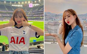Tới sân xem Son Heung-min chơi bóng, cô nàng Hàn Quốc khiến dân tình ngỡ ngàng bởi gương mặt xinh đẹp, nụ cười tươi rói