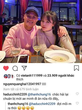 Quang Hải vừa đăng ảnh tình cảm bên bạn gái, Đức Chinh nhanh nhảu đòi được mời ăn
