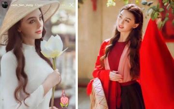 Bùi Tiến Dũng khoe ảnh bạn gái ngoại quốc cực xinh trong tà áo dài Việt Nam