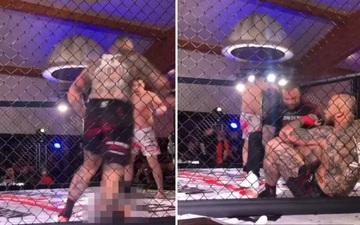 Kickboxer gãy chân kinh hoàng sau cú đá quét trụ