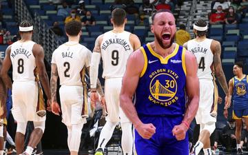 """Stephen Curry tiếp tục """"gánh"""" Golden State Warriors bằng màn """"mưa 3 điểm"""" vào rổ New Orleans Pelicans"""