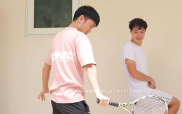 """Hài hước: Văn Toàn là """"quả bóng"""" cho Xuân Trường tập quần vợt"""