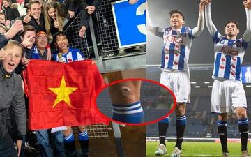 Văn Hậu cầm cờ Việt Nam giữa trời Âu đầy tự hào, fan lại chỉ chú ý đến vết thương từ hồi SEA Games vẫn chưa lành