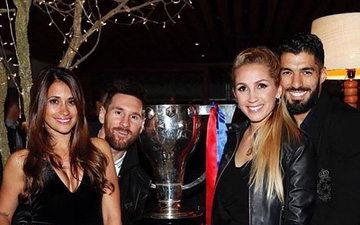 Gia Đình Messi và Suarez cùng nhau ăn mừng chức vô địch La Liga
