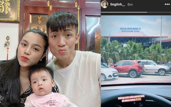 Yêu chồng như Khánh Linh: Trời nắng nóng vẫn lao lên sân bay đón Tiến Dũng thi đấu trở về